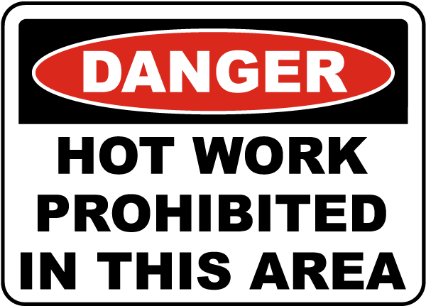 Danger Hot Work Prohibited In This Area Sign