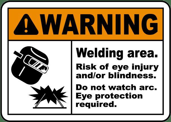 Welding Area Risk of Eye Injury Sign
