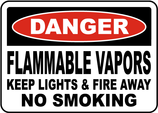 Danger Flammable Vapors Keep Lights & Fire Away No Smoking sign
