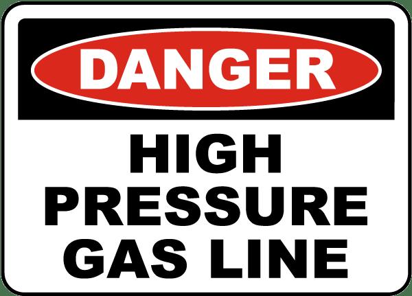 High Pressure Gas Line Sign