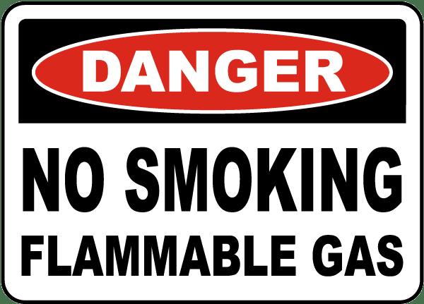 Danger No Smoking Flammable Gas Sign