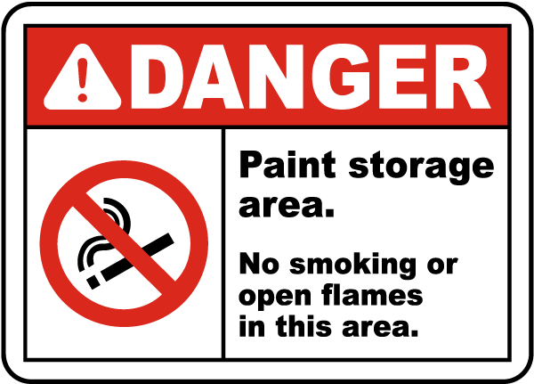 Paint Storage Area No Smoking Sign J1637 By