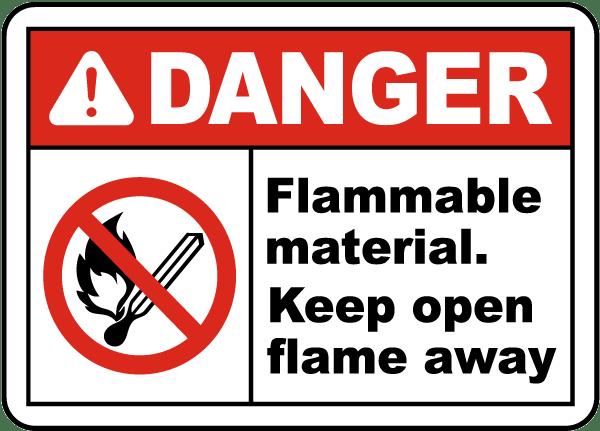 Danger Flammable Material Sign