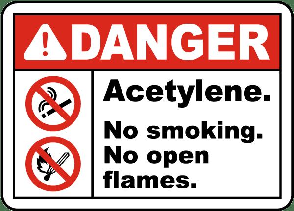 Danger Acetylene No Smoking Sign