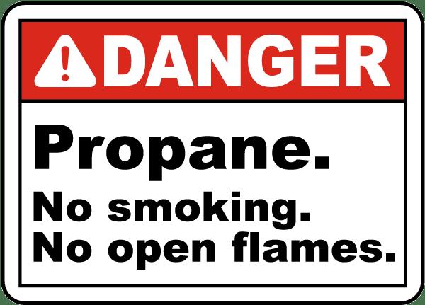 Propane No Smoking No Open Flame Sign