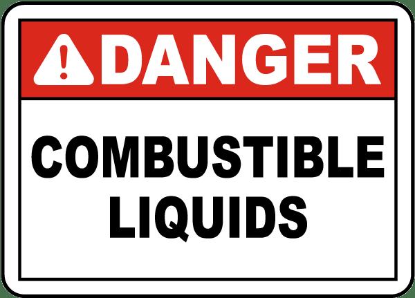 Danger Combustible Liquids Sign