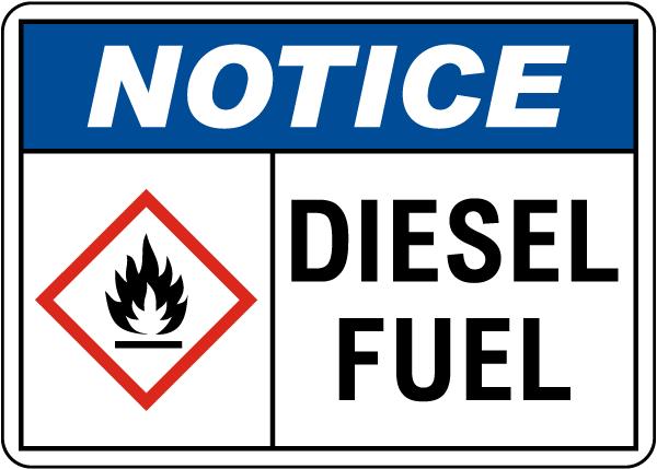 Notice Diesel Fuel Sign