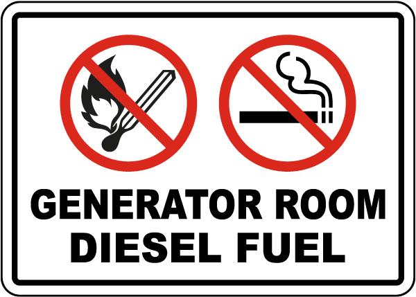 Generator Room Diesel Fuel Sign