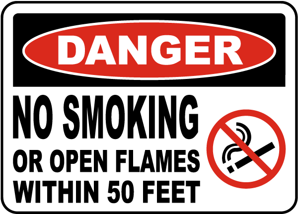 Danger No Smoking Within 50 Feet Sign