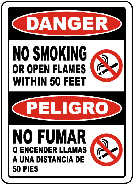 Bilingual Danger Sign No Smoking Or Open Flames Within 50 Feet Sign