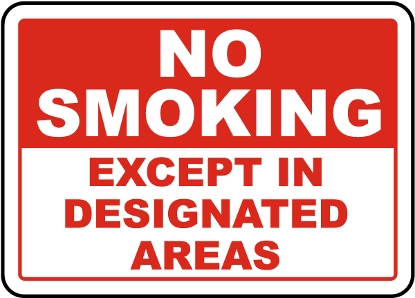 No Smoking Except In Designated Sign