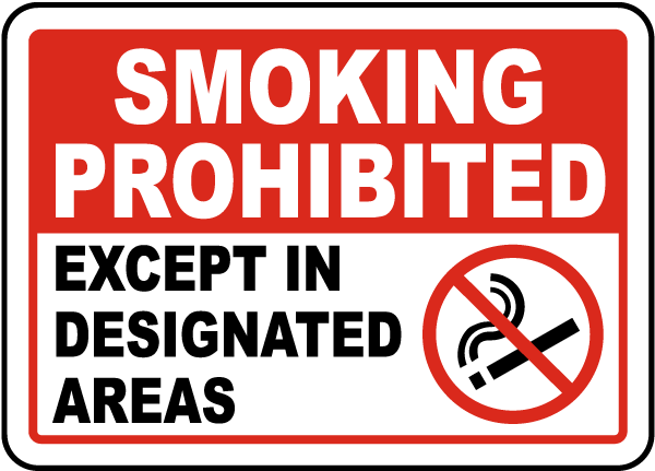 Smoking Prohibited Except In Designated Areas Sign