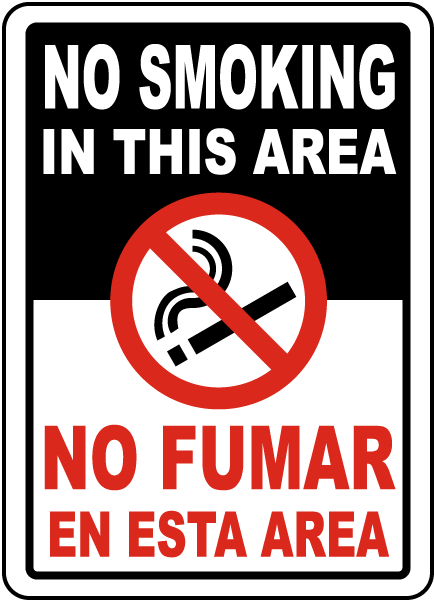 Bilingual No Smoking In This Area Sign