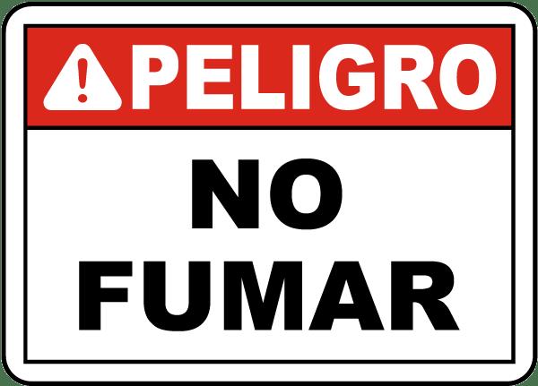 Spanish Danger No Smoking Sign