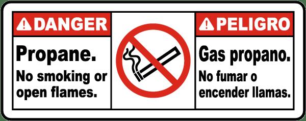 Bilingual Danger Propane No Smoking or Open Flame Sign