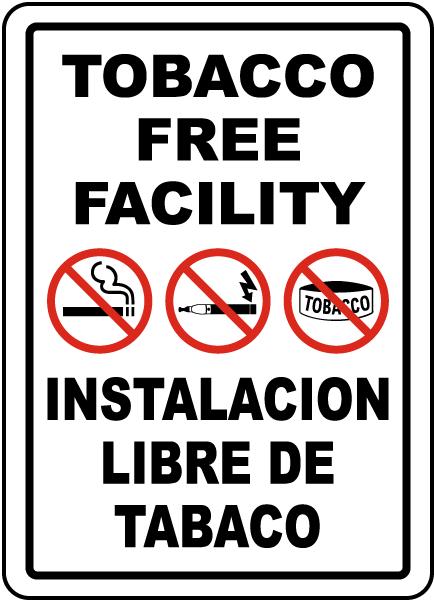 Bilingual Tobacco Free Facility Sign