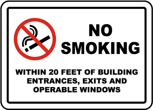 No Smoking Within 20 Feet Sign