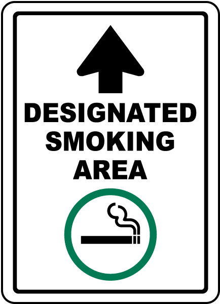 Designated Smoking Area with Up Arrow Sign