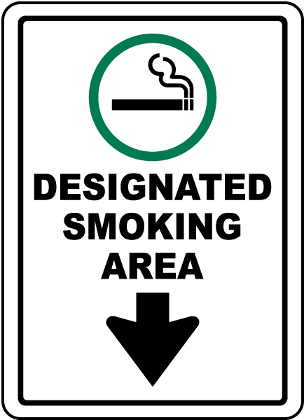Designated Smoking Area with Down Arrow Sign