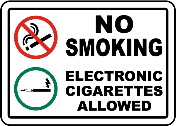 No Smoking Electronic Cigarettes Allowed Sign