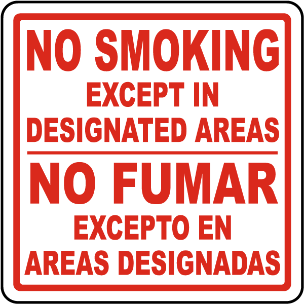 Bilingual Designated Smoking Areas Sign