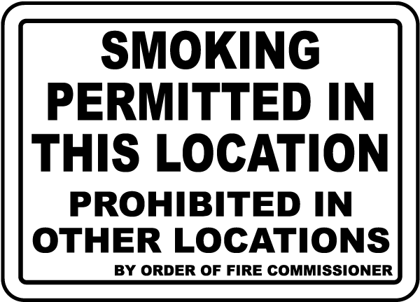 Smoking Permitted In This Location Sign
