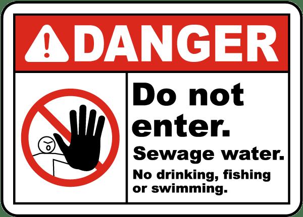Sewage Water No Drinking Sign
