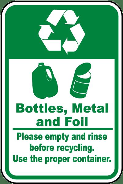 Bottles, Metal, Foil Recycle Label
