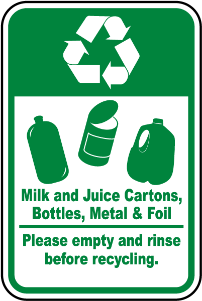 Milk, Juice Cartons, Metal Recycle Label