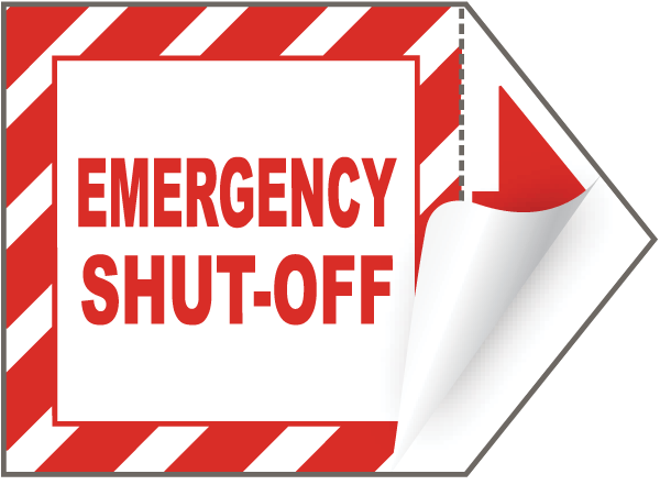 Emergency Shut-Off Arrow Label
