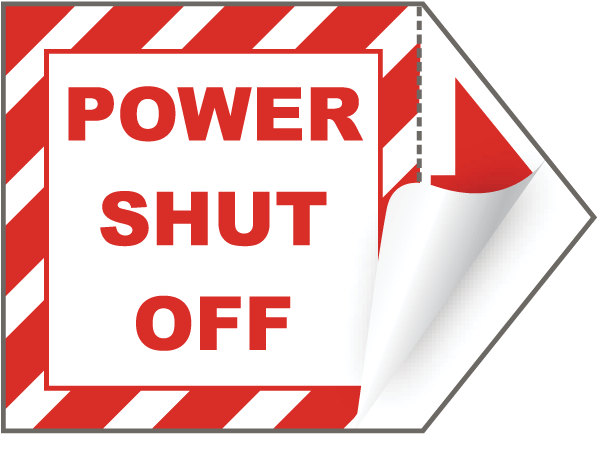 Power Shut Off Arrow Label