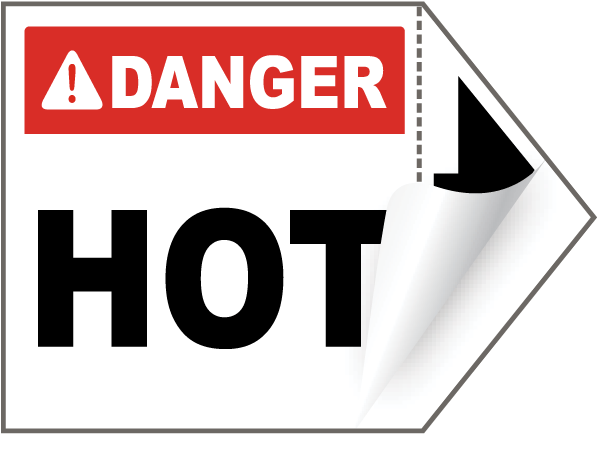 Danger Hot Arrow Label