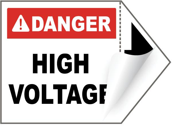Danger High Voltage Arrow Label