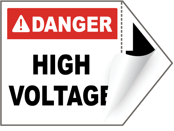 Danger High Voltage Arrow Label