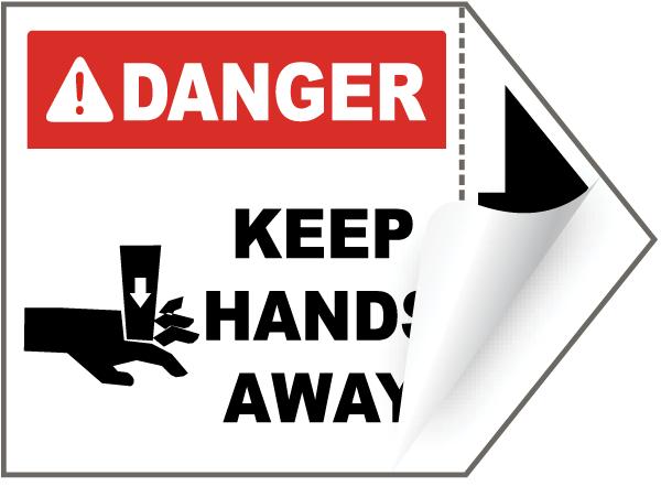 Danger Keep Hands Away Arrow Label