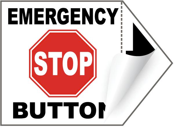 Emergency Stop Button Arrow Label