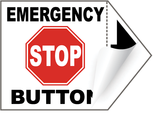 Emergency Stop Button Arrow Label