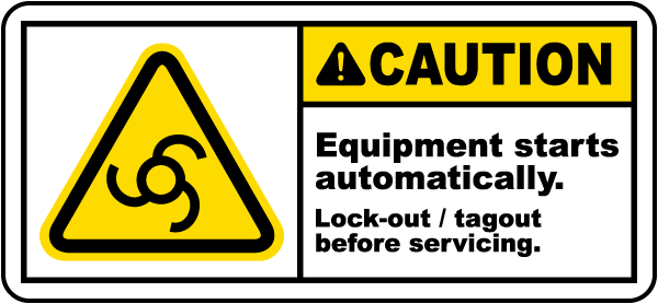 Equipment Starts Automatically Label