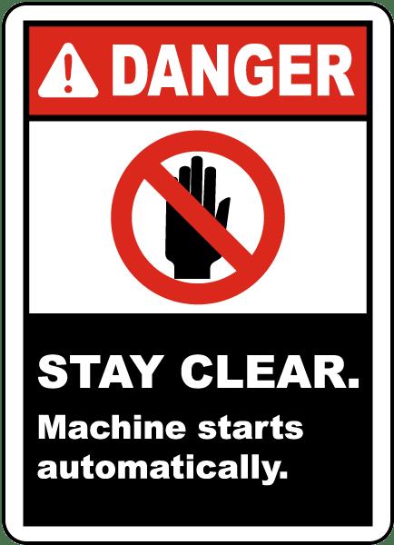 Machine Starts Automatically Label