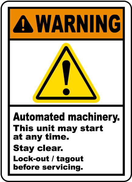 Warning Automated Machinery Label