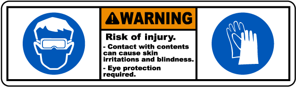 Warning Irritations & Blindness Label