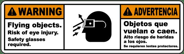 Bilingual Flying Objects Risk of Eye Injury Label
