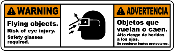 Bilingual Flying Objects Risk of Eye Injury Label