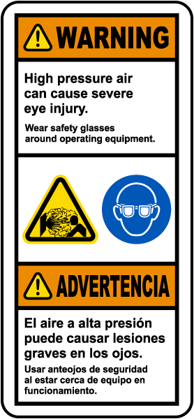 Bilingual Wear Safety Glasses Around Equipment Label