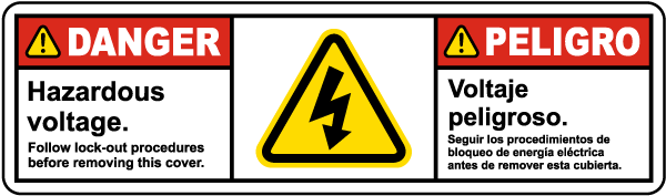 Bilingual Hazardous Voltage Follow Lock Out Procedures Label