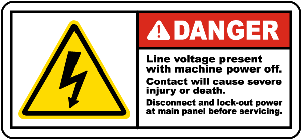 Line Voltage Present Disconnect Label