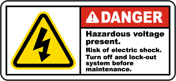 Danger Hazardous voltage present Risk of electric shock.. label