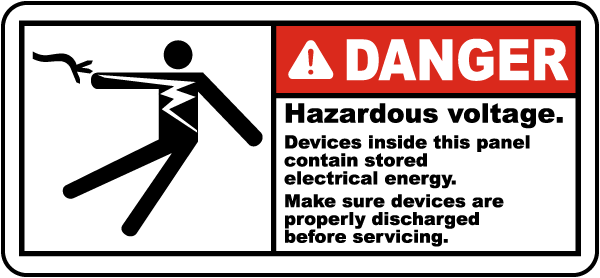 Danger Hazardous voltage Devices inside this panel contain stored electrical energy label