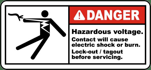 Hazardous Voltage Lock-Out Label
