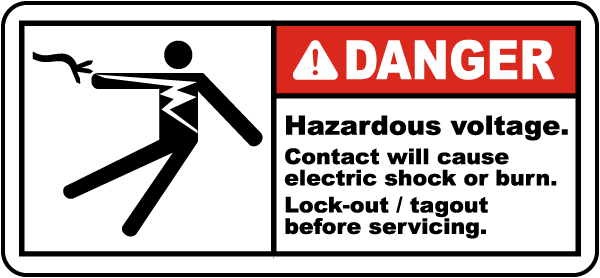 Danger Hazardous voltage Contact will cause electric shock or burn.. label
